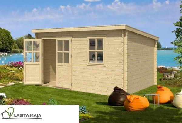 gartenhaus blockbohlenhaus flachdach amira 230 inkl dachpappe. Black Bedroom Furniture Sets. Home Design Ideas