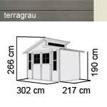 karibu gartenhaus grauburg 6 stufendach 19 mm system terragrau. Black Bedroom Furniture Sets. Home Design Ideas
