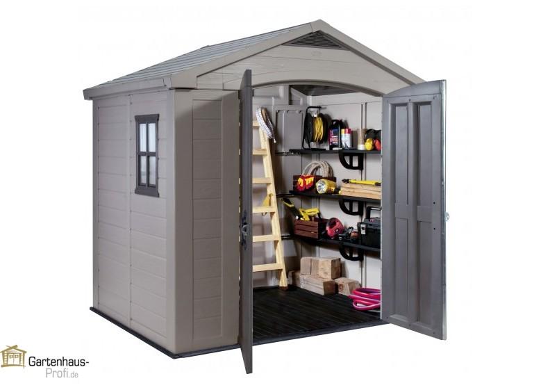 Tepro kunststoff ger tehaus gartenhaus factor 8x6 taupe beige - Dacheindeckung kunststoff gartenhaus ...