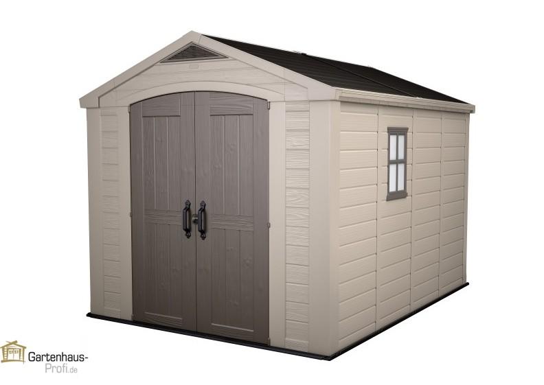 tepro kunststoff ger tehaus gartenhaus factor 8x11 taupe beige. Black Bedroom Furniture Sets. Home Design Ideas