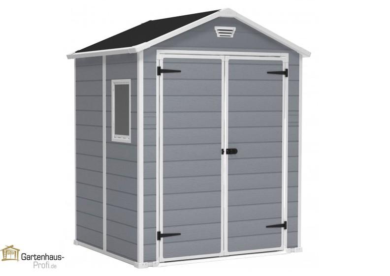 tepro kunststoff ger tehaus gartenhaus manor 6x5dd grau wei. Black Bedroom Furniture Sets. Home Design Ideas