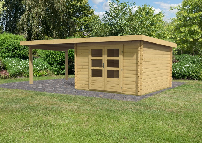 woodfeeling gartenhaus pultdach bastrup 5 28 mm mit 3 m. Black Bedroom Furniture Sets. Home Design Ideas