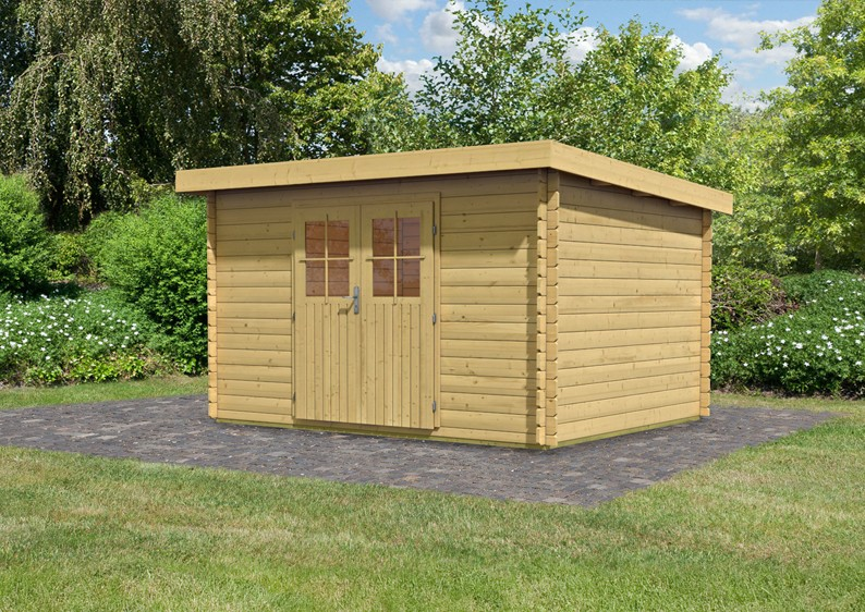 woodfeeling gartenhaus pultdach bastrup 7 28 mm blockbohlenhaus natur. Black Bedroom Furniture Sets. Home Design Ideas