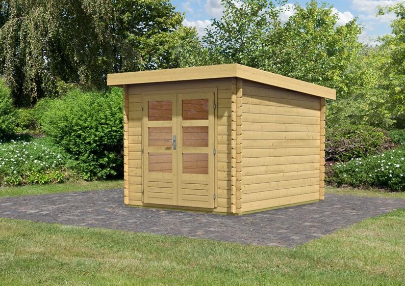 woodfeeling gartenhaus pultdach bastrup 4 28 mm blockbohlen naturbelassen. Black Bedroom Furniture Sets. Home Design Ideas