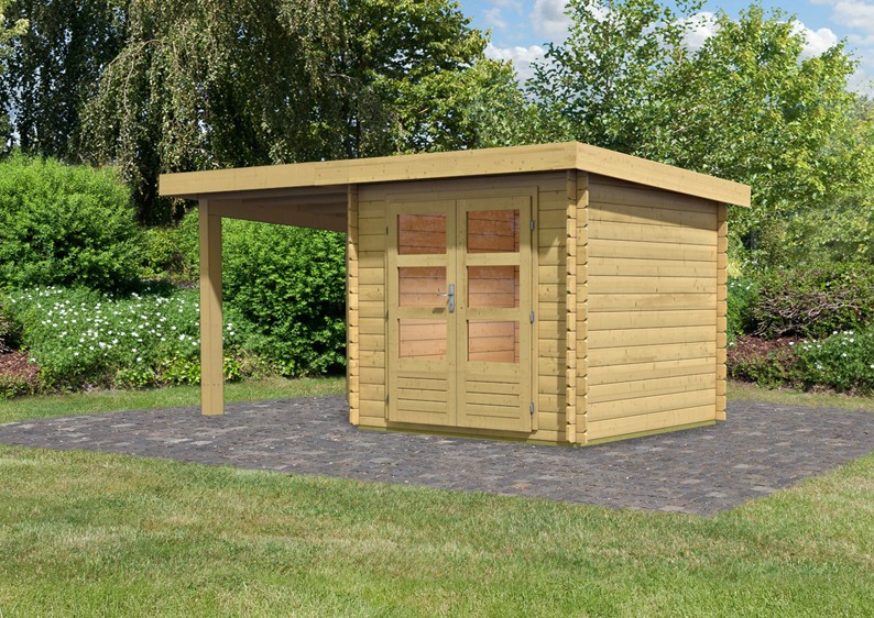 woodfeeling gartenhaus pultdach bastrup 4 28 mm blockbohlen mit 3 m schleppdach. Black Bedroom Furniture Sets. Home Design Ideas