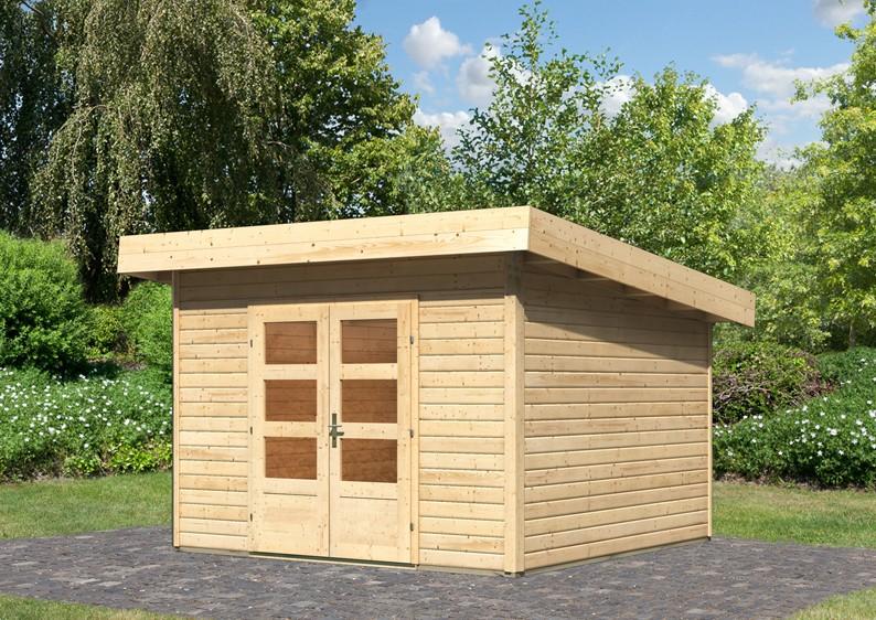 woodfeeling gartenhaus flachdach northeim 3 40 mm system naturbelassen. Black Bedroom Furniture Sets. Home Design Ideas