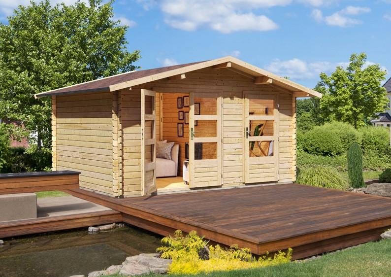 woodfeeling gartenhaus radur 1 satteldach 28 mm blockbohlenhaus mittelwandhaus natur. Black Bedroom Furniture Sets. Home Design Ideas