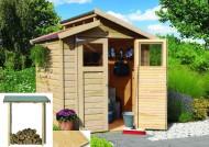 Karibu Gartenhaus Sparset Tessin 3 naturbelassen inkl. Fußboden und Schleppdach Eco