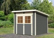 Karibu Holz-Gartenhaus  19mm Glücksburg 3 im Set mit Anbaudach terragrau