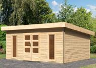 Karibu Holz-Gartenhaus Tecklenburg 3 Pultdach 40 mm System - natur