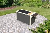Karibu Hochbeet 2 - 640 l Fassungsvermögen - inkl Schrankoption - 19mm - terragrau