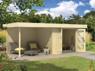 Wolff Finnhaus 28mm Gartenhaus Calais mit Flachdach und Anbau - naturbelassen
